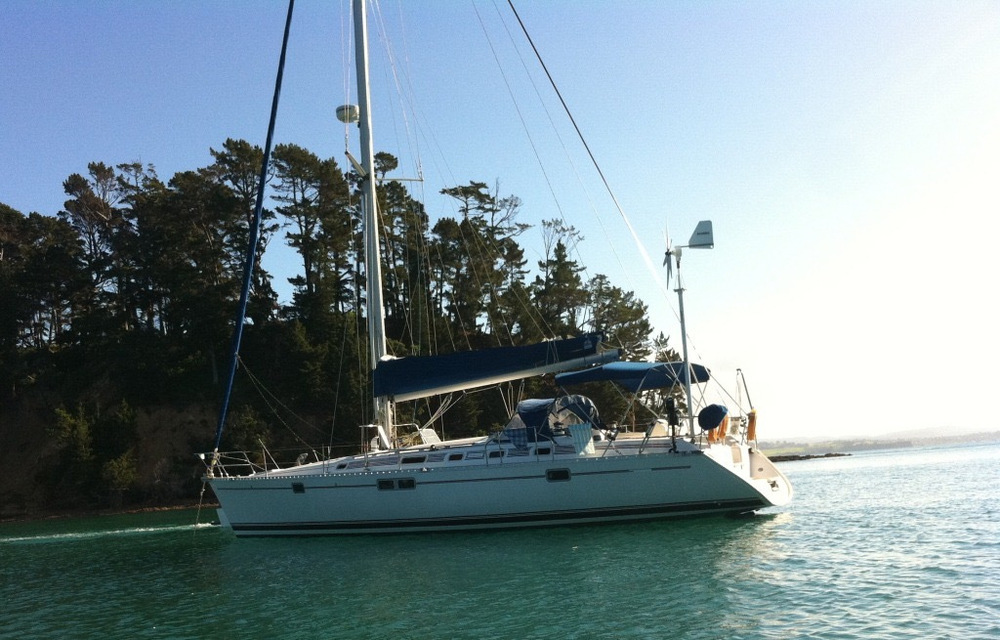 Anchored in Mansion House Bay, Kawau Island, Hauraki Gulf on our first weekend away on Ocean Gem.