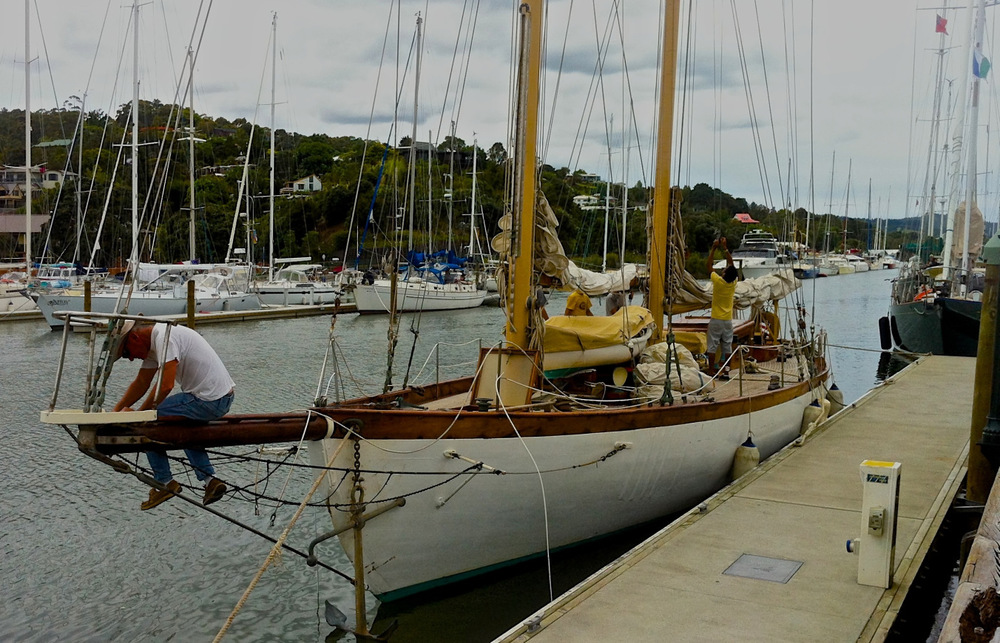 David Dyche, owner and skipper of 'Nina' doing some maintenance, while berthed at the Whangarei Town Centre in Northland in January 2012