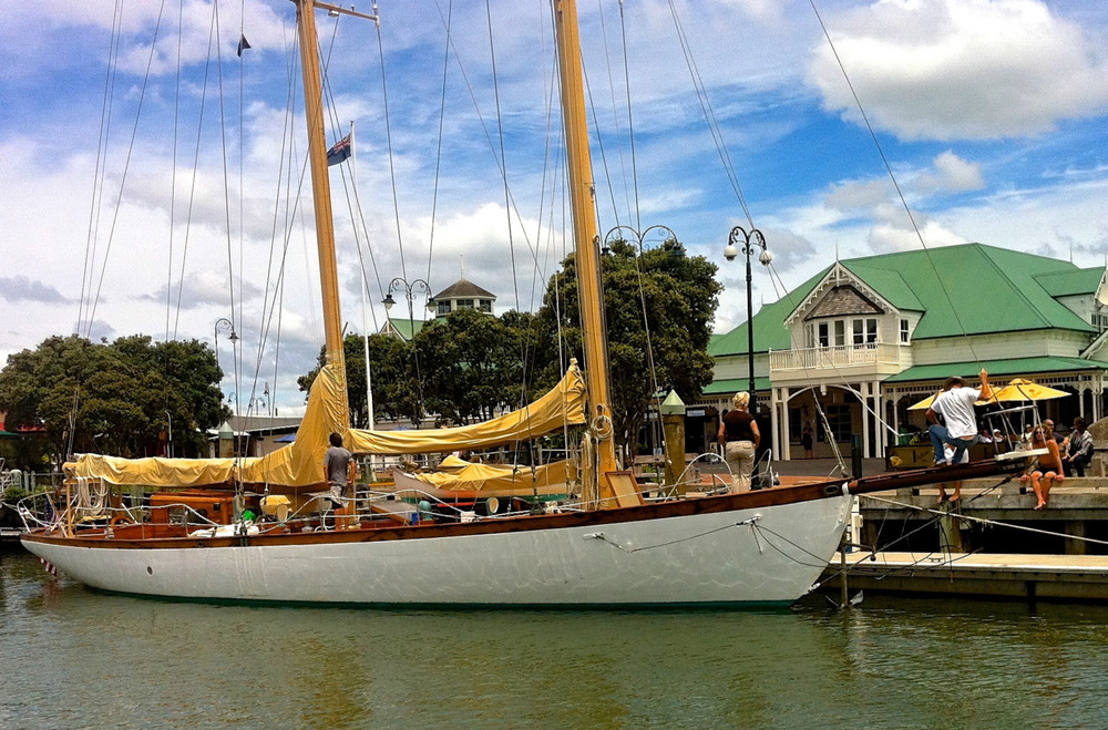 Nina tied up at the wharf in the Whangarei Town Basin