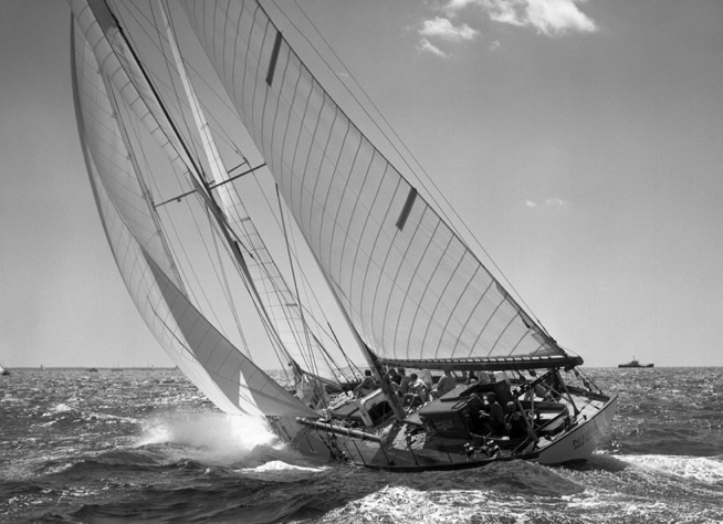 The Nina captured on camera under full sail in Bermuda in 1957