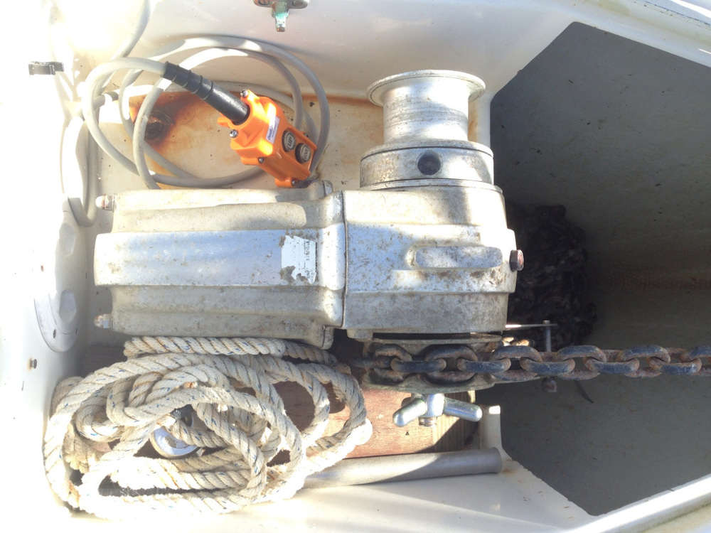 The original anchor windlass prior to upgrade
