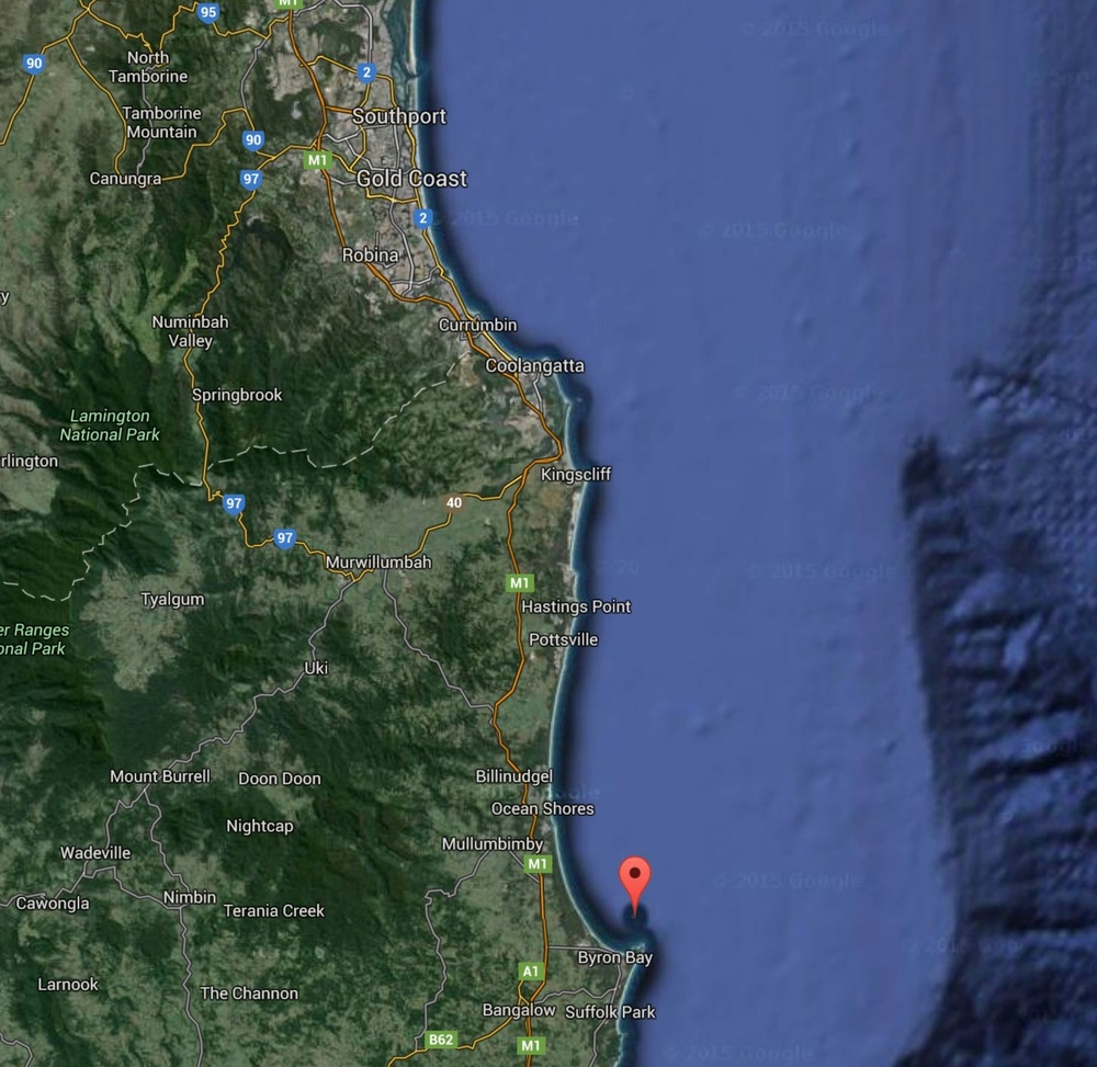 The race starts off Main Beach (Southport) in the North and heads 42nm south and around Julian Rocks off  Byron Bay (red marker) then home to the finish off Main Beach.