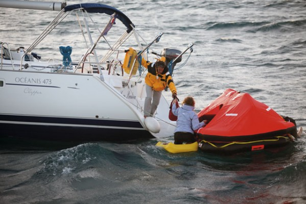 You should always step up into a liferaft when your boat is actually sinking