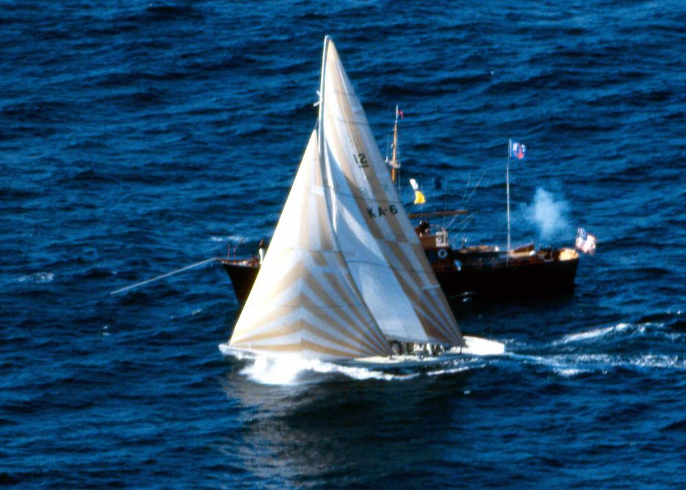 Australia II crosses the finish line to win the Americas Cup in 1983