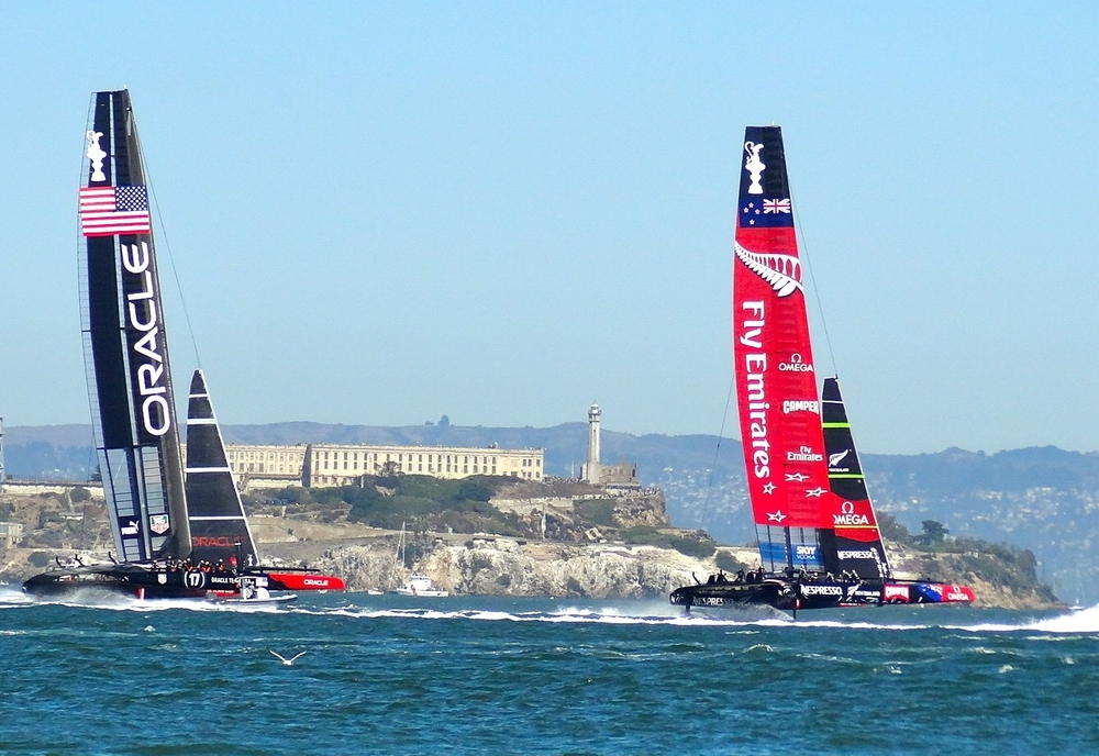 Oracle successfully defends against Emirates Team New Zealand in the 2013 Americas Cup