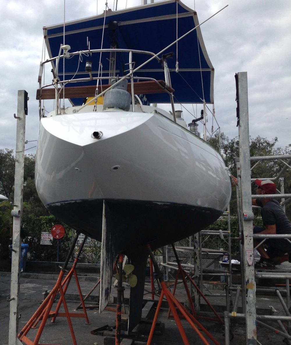 The final coat of paint goes onto Impulse's hull
