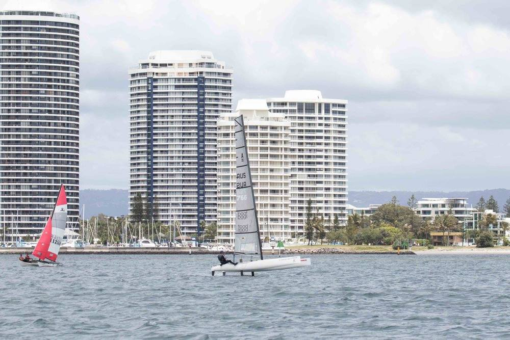 Southport Yacht Club foiling catamarans racing on the Gold Coast