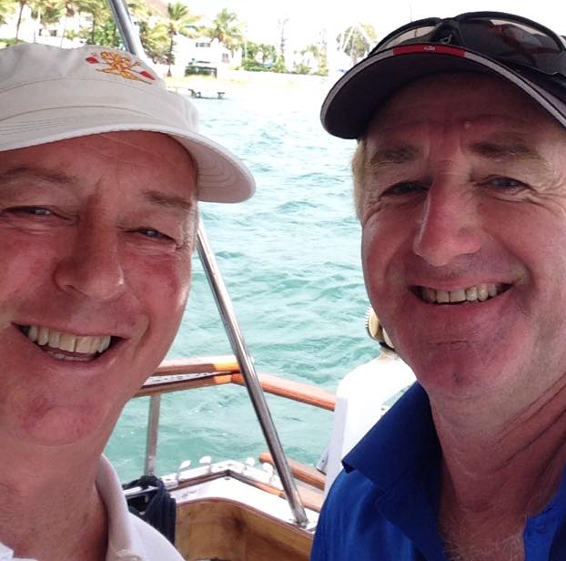 Ray McMahon on the water with John Ashton, one of Southport Yacht Clubs boat owners