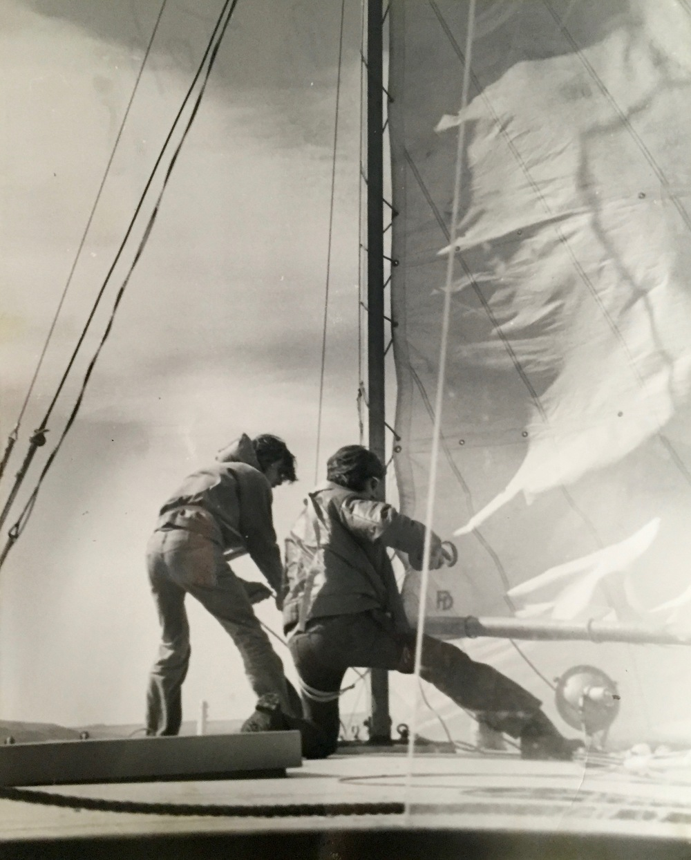 Hoisting sails required tw0 crew in stronger breeze