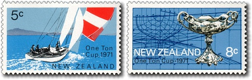 New Zealand printed postage stamps for the One Ton Cup in Auckland in 1971