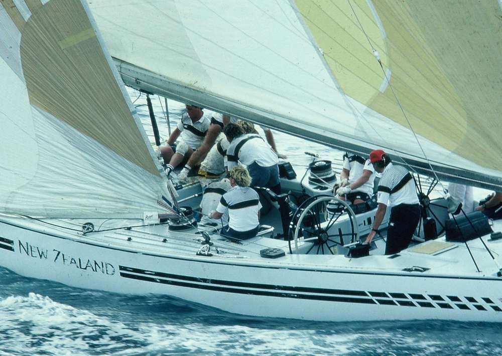 KZ7 racing in New Zealand's first ever Americas Cup Challenge in Fremantle, Australia 1987