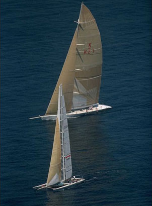 Michael Fay's failed monohull vs. catamaran Cup Challenge in 1988