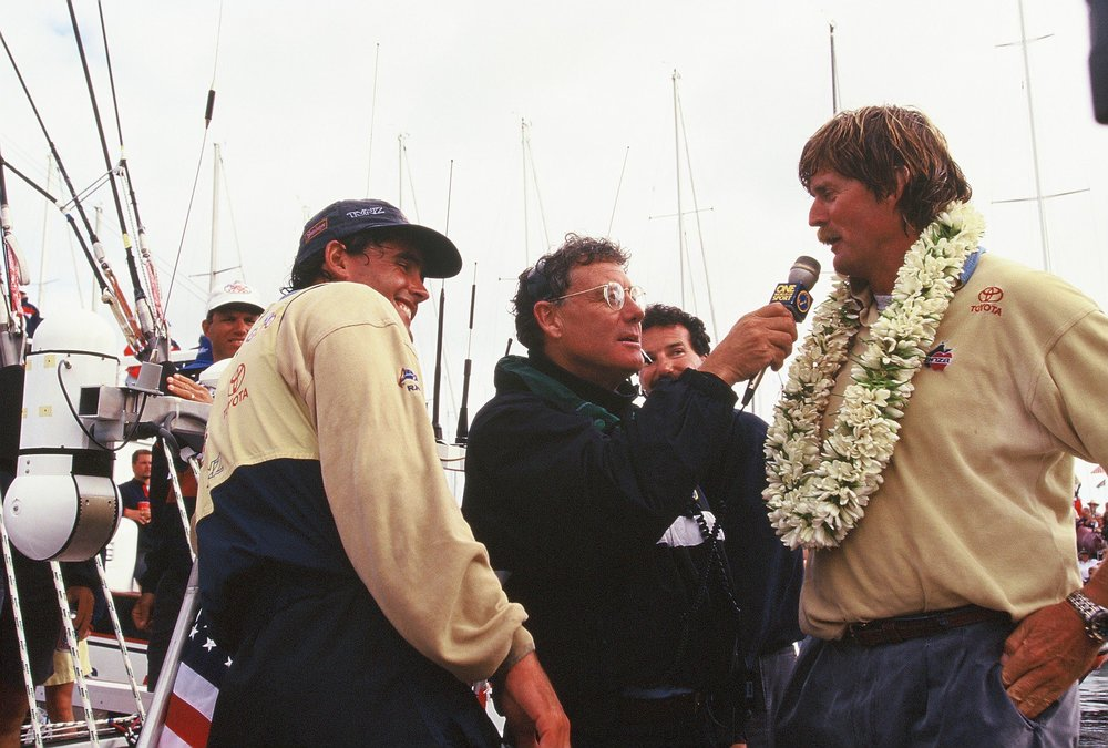 Peter Montgomery in the thick of the celebrations after the Americas Cup 1995 final with Russell Coutts (left) and Sir Peter Blake