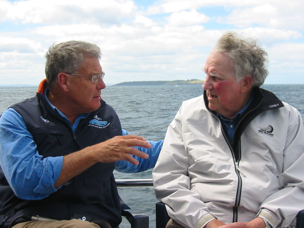 Peter Montgomery onboard broadcasting boat Northstar with Sir Edmund Hillary in 2003