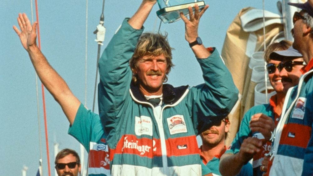 Peter Blake wins the 1988/89 Whitbread round the world race with Steinlager 2