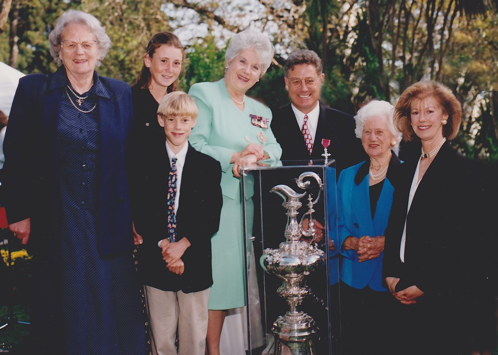 The Montgomery's, with Peter's mother, Anne, left, Claudia's mother Bonnie Brinsden, second from right and Dame Cath Tizard, centre at Government House with the Americas Cup in 1995
