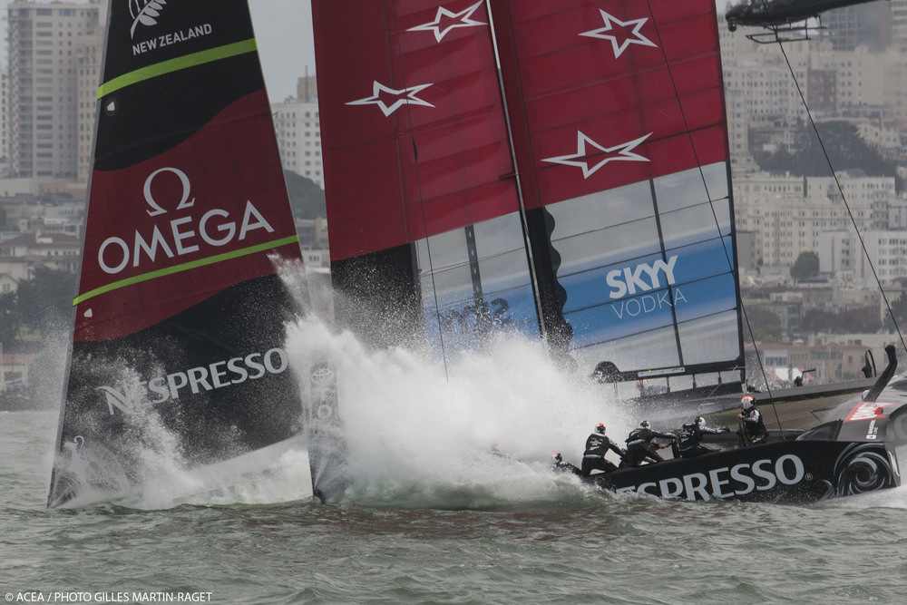 Emirates Team New Zealand does a nosedive in the 2013 Louis Vuitton Series
