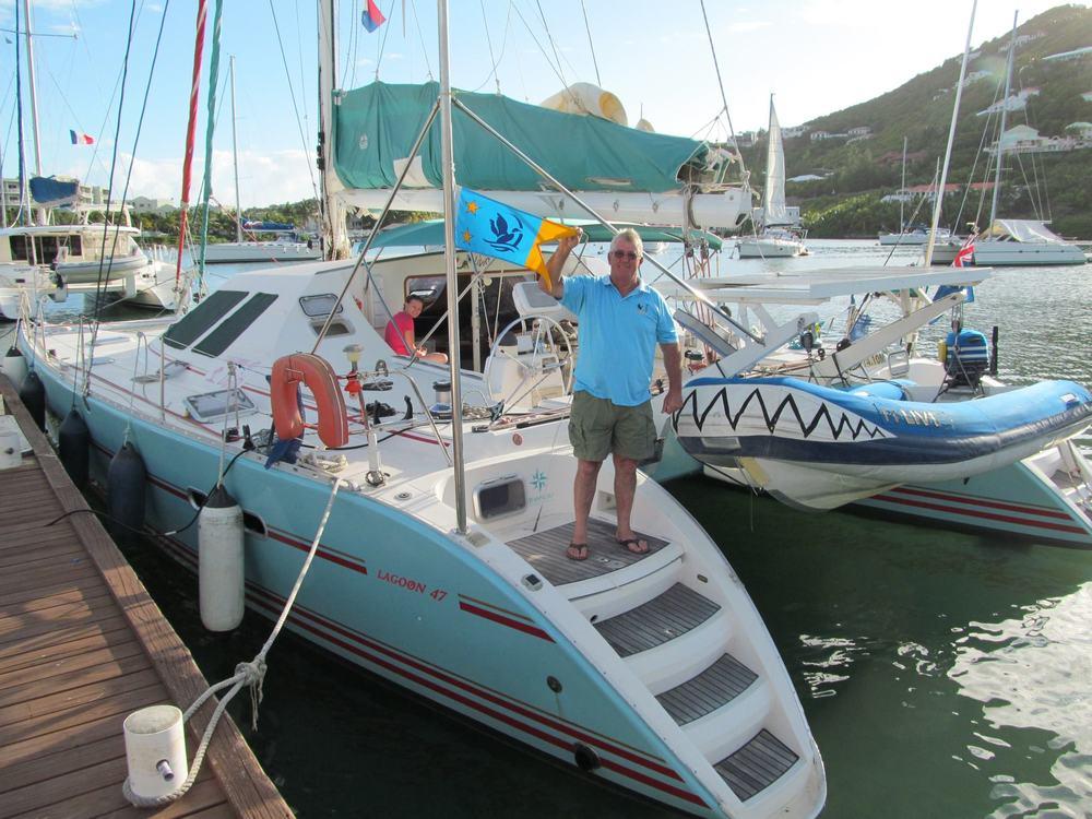 SICYC Burgee on Catamaran