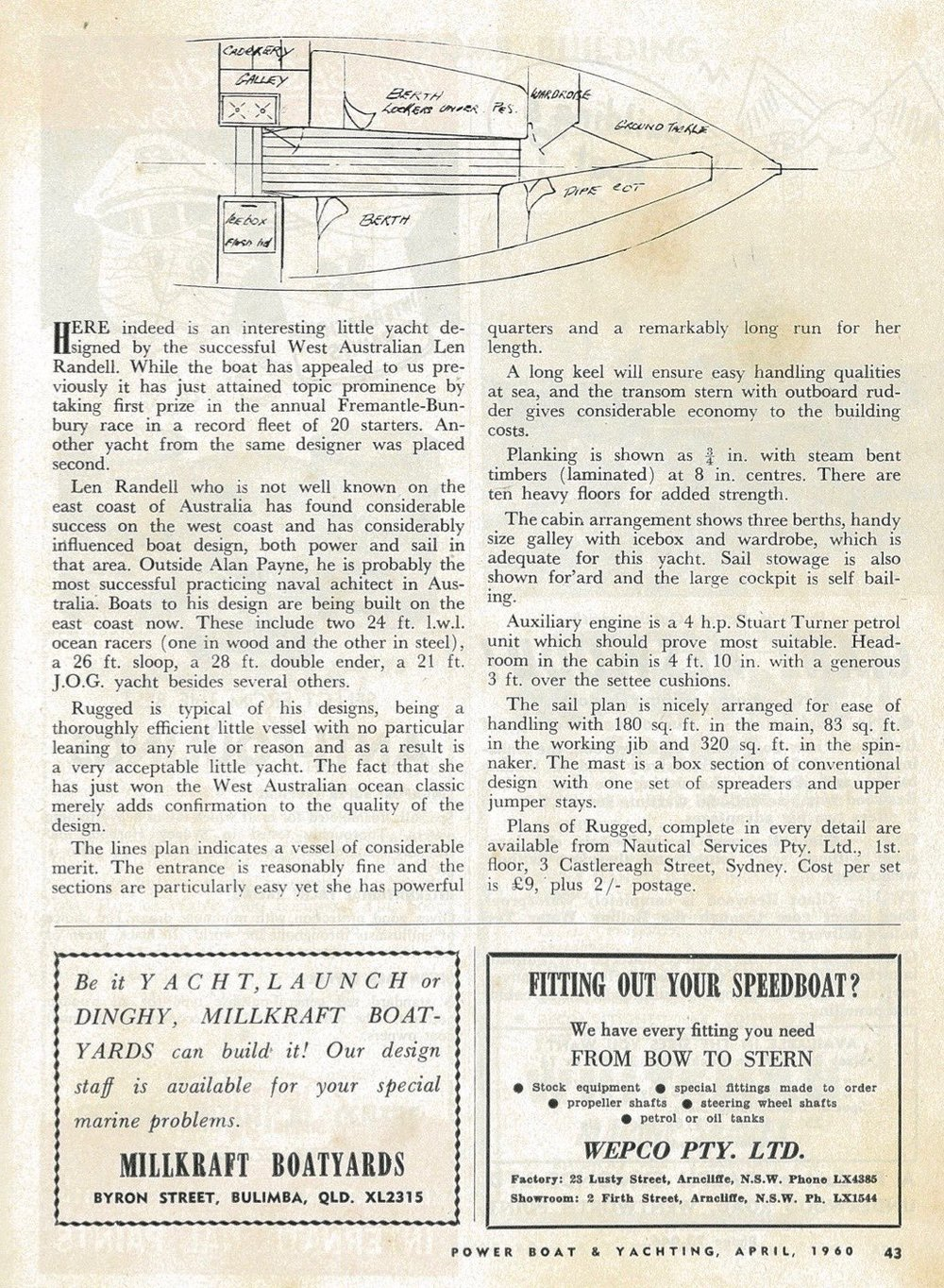 The review of the Rugged design published in 1960 in Power Boat & Yachting Magazine