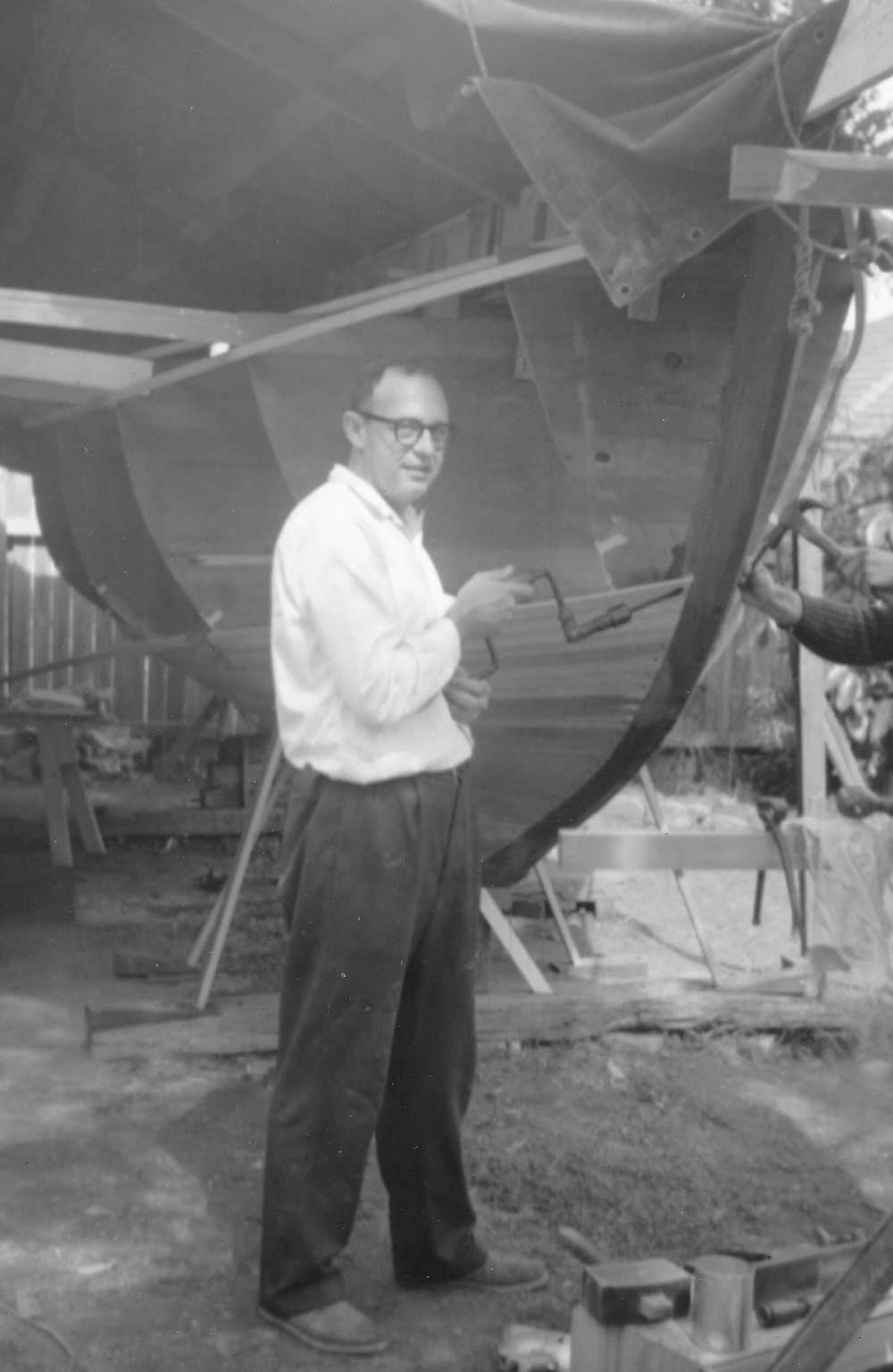 Andrew Randell's father working on the hull construction prior to 1966