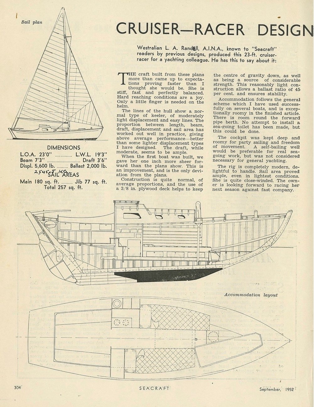 The 1952 Seacraft magazine review of Len Randell's Rugged design