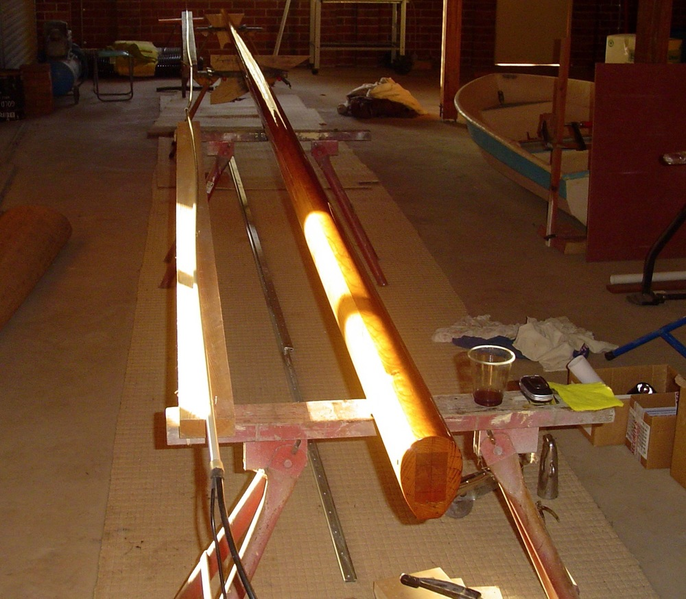 Jackie R's wooden mast in construction and finished with 10 coats of varnish