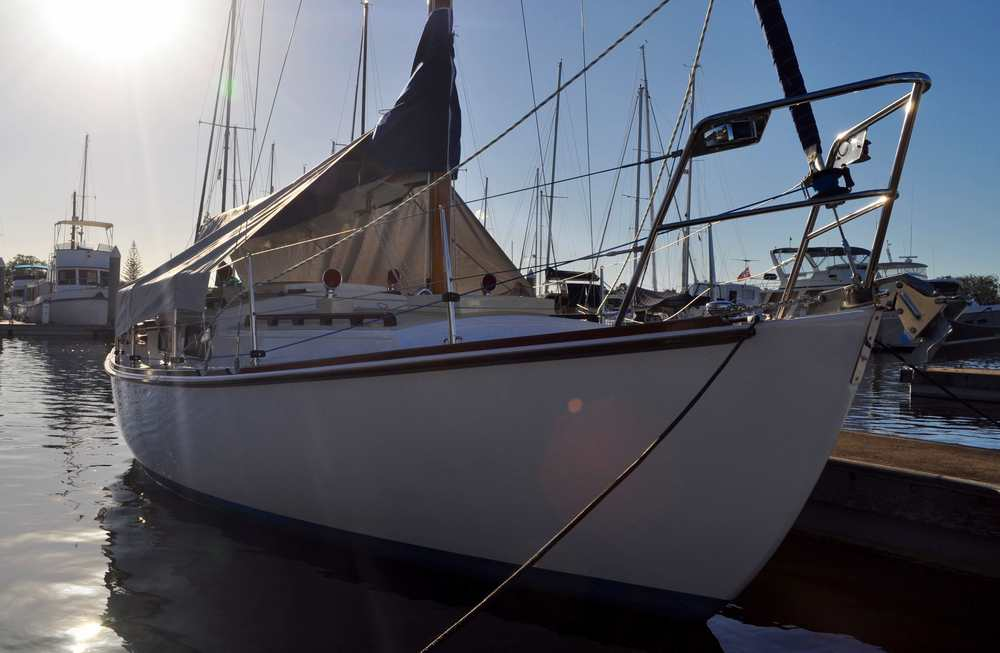 Jackie R safely under cover in her berth in the Yamba Marina in Northern NSW