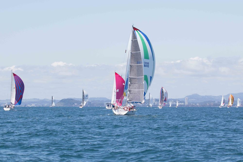 Yachts competing in the Bartercard Sail Paradise 2016 regatta at the Gold Coast in Queensland