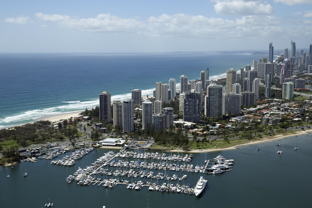 The Southport Yacht Club with the stunning Gold Coast as its back drop