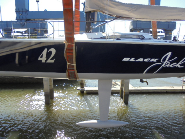 Black Jack Too in the slings at Gold Coast City Marina