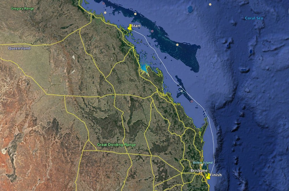 The 600nm eastern route from Hamilton Island to Southport.