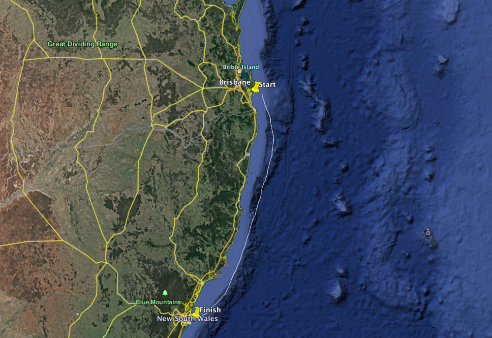 The 380nm route from to Southport in Queensland to Pittwater in New South Wales