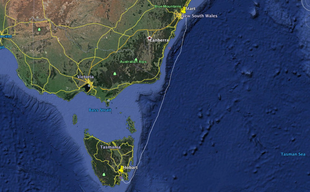 The 630nm route from Sydney to Hobart across the infamous Bass Strait.