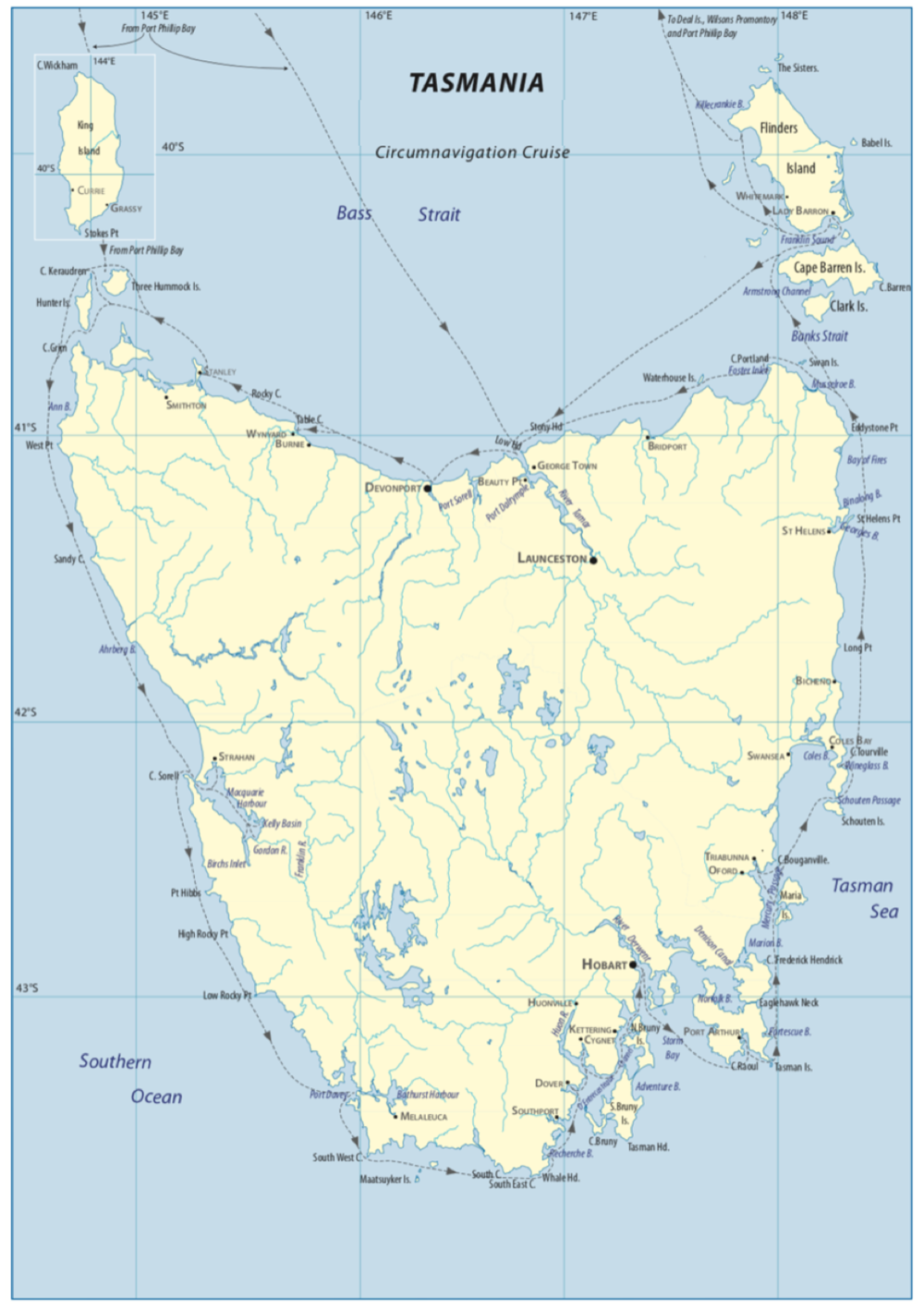 The 800nm anti-clockwise circumnavigation route around Tasmania, starting and finishing in the capital city of Hobart.