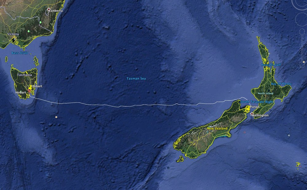 The 1,270nm route from Hobart to Picton across the infamous Tasman Sea.