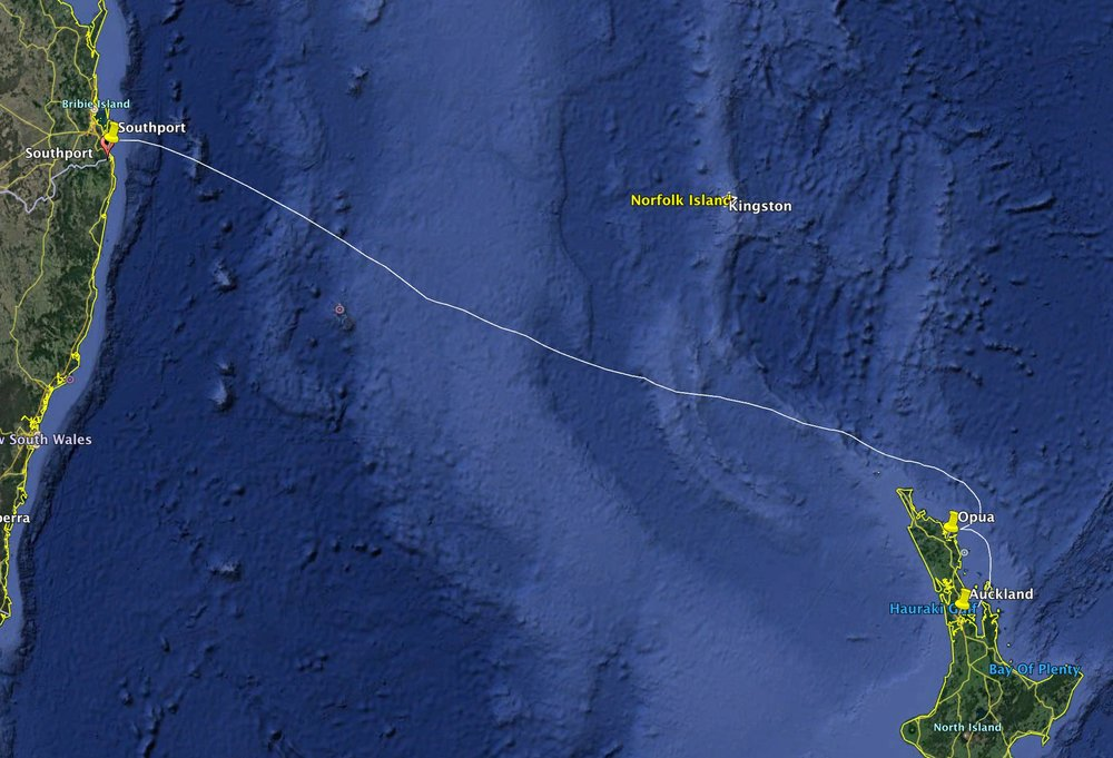 The 1,280nm route from Southport to Auckland via Opua across the infamous Tasman Sea.