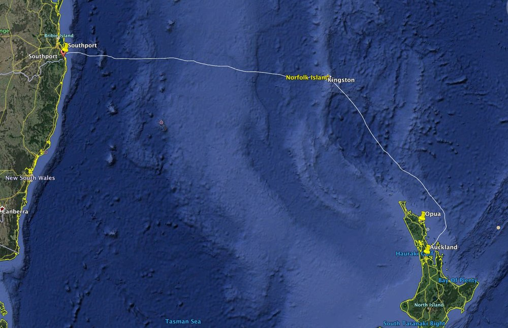 The 1,370nm route from to Auckland to Southport via Norfolk Island across the infamous Tasman Sea.