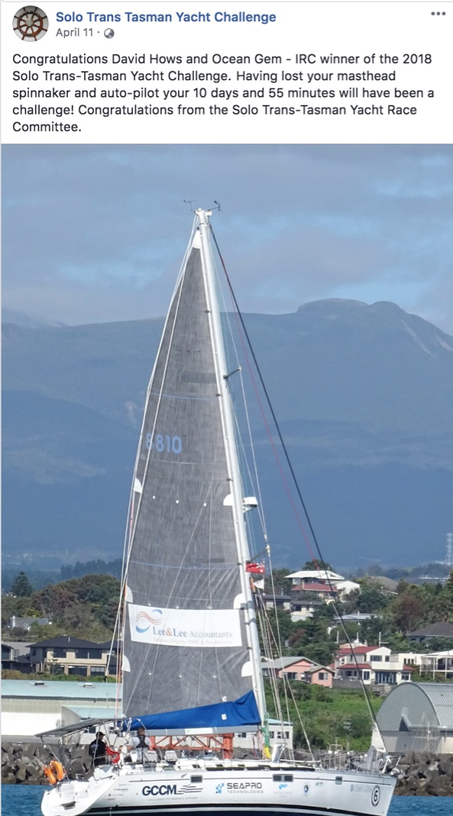 Solo Tasman Yacht Challenge 2018.