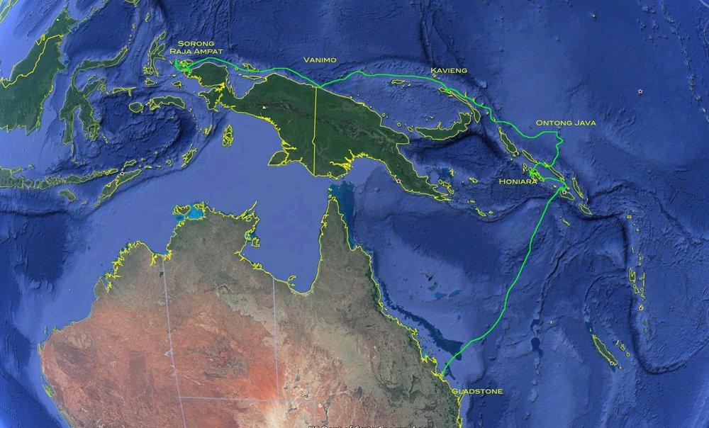 Sailing route to Solomon Islands Vernon Deck