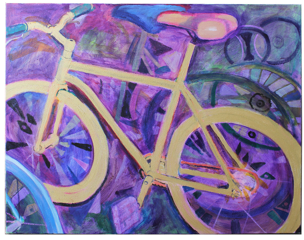"""Solid Gold Bicycle""  36"" x 28"" acrylic and acrylic gold paint on canvas  2016     below are three recent small oils of bicycles included in a show at Perimeter Gallery in the Arts District, Downtown LA  (tap an image to click through)"