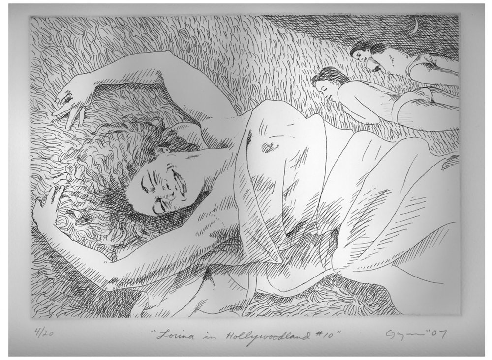 "Etching #10 from the suite ""Lorina in Hollywoodland"" from 2007- 2010"