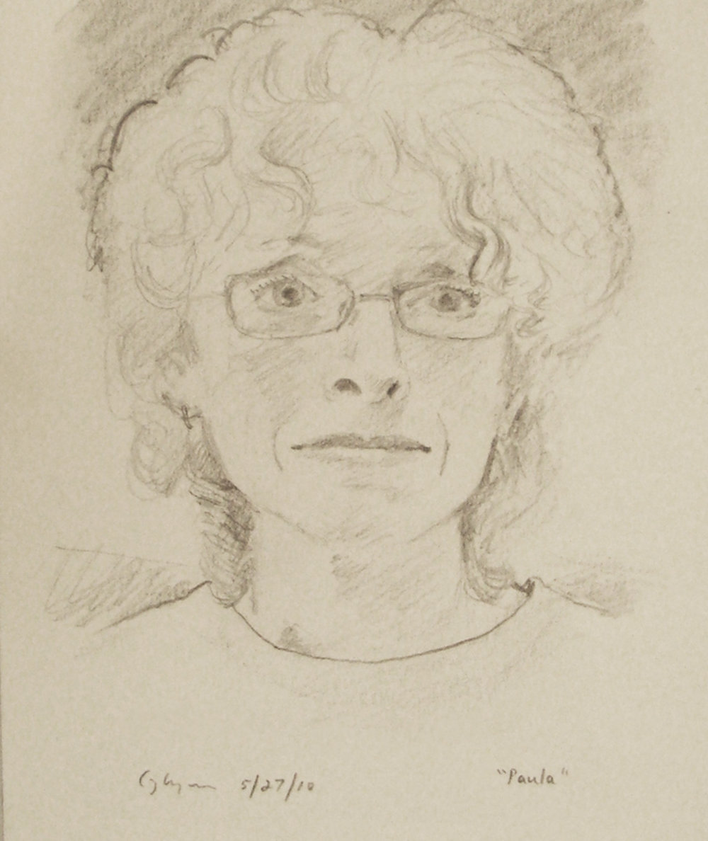 """The artist Paula Marckesano-Jones""  9"" x 7""  Pencil on paper, 2010"