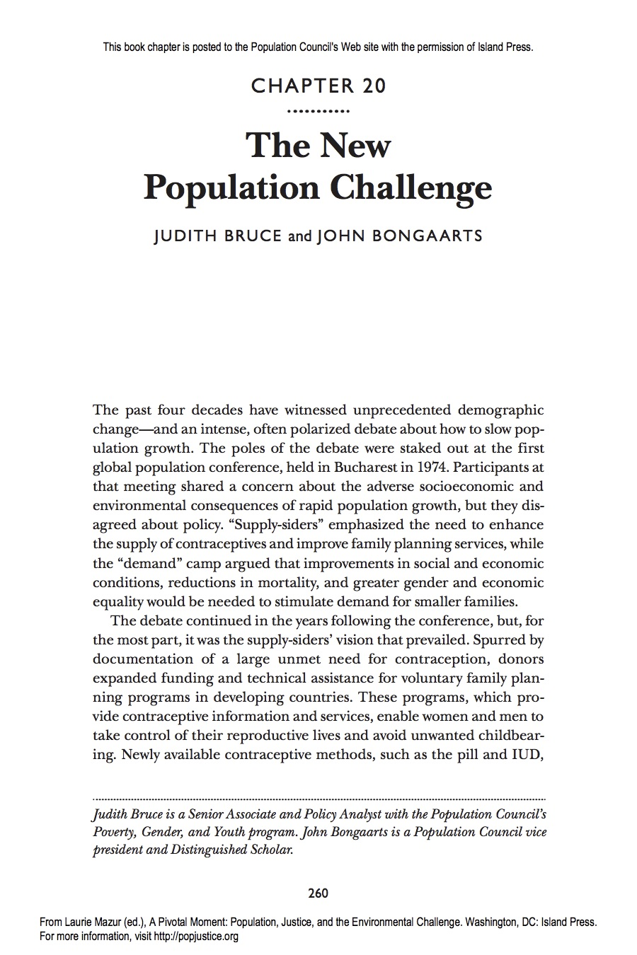 The New Population Challenge