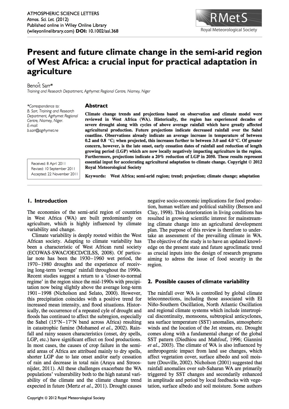 Present and future climate change in the semi-arid region of West Africa: a crucial input for practical adaptation in agriculture