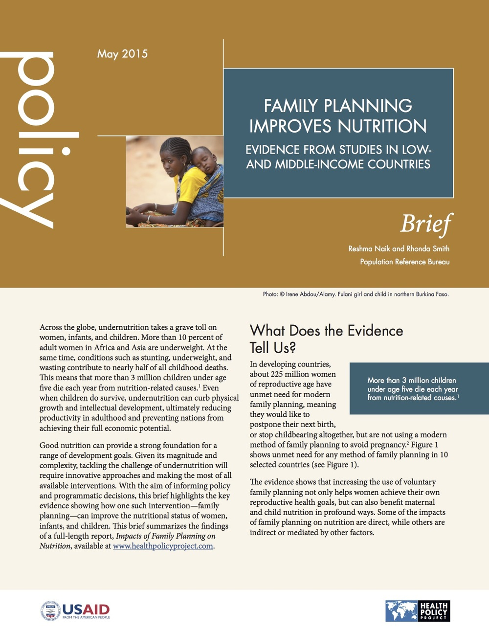 Family Planning Improves Nutrition: Evidence from Studies in Low- And Middle-Income Countries