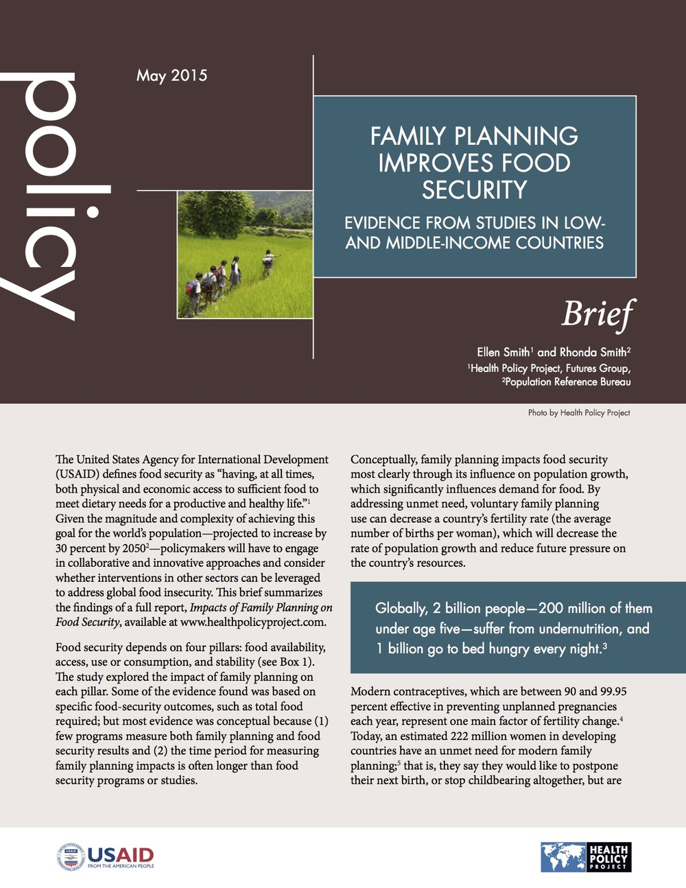 Family Planning Improves Food Security: Evidence from Studies in Low- And Middle-Income Countries