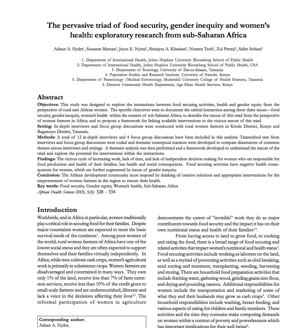 The pervasive triad of food security, gender inequity and women's health: exploratory research from sub-Saharan Africa