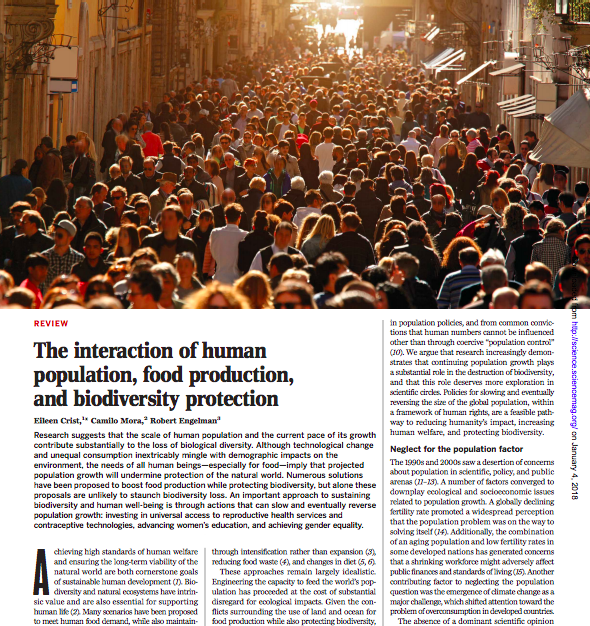The interaction of human population, food production, and biodiversity protection