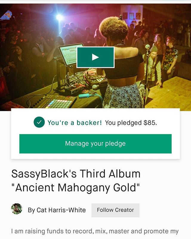 ✊🏿A few hours left for the Kickstarter......come through fam! 🏃🏾‍♀️🏃🏾‍♀️🏃🏾‍♀️ Support our super dope friend @sassyblackcat with her new album. Y'all know Sassy be dropping the gems 💎 ! Link in bio. ✊🏿
