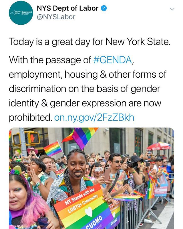 "Yay! #GENDA has passed in #NYC ! 🌈🌈🌈🌈🌈🌈🌈🌈🌈🌈🌈 """"At a time when the federal government is doing everything it can to roll back the hard won rights of transgender Americans, New York State is once again stepping up for full equality and equal protections under the law. We were the first state in the nation to issue regulations prohibiting harassment and discrimination on the basis of gender identity and expression, and continue to fight this federal administration's despicable attacks on trans people. This is an issue of basic fairness, and today marks an historic day for those in the LGBTQ community who fought tirelessly for the passage of this bill. I applaud the Legislature for acting quickly to pass this critical component of our Justice Agenda."" #equality #lgbt #lgbtq #stonewall #freedom"